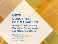 MBTI Concepts for Managers Workshop Facilitation Kit
